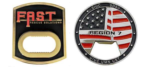 Custom challenge coin bottle opener feature black with a Fast Rescue solutions custom challenge coin bottle opener on the left and a Region 7 round challenge coin bottle opener on the right. Both challenge coins have color fill.