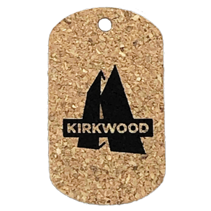 Custom Cork Dog Tag With Kirkwood Logo Imrinted In Black.