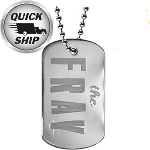 A custom diamond engrave dog tag that was made for the band The Fray to sell on tour.