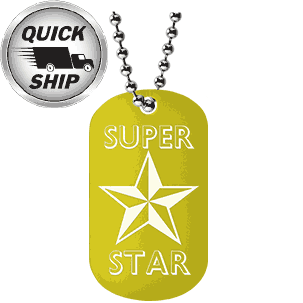 A custom laser engraved dog tag with dog tag chain with Super Star engraved on a yellow aluminum anodized dog tag.