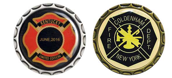 An image with two of our express challenge coin options which can be shipped in 2 to 3 days. The left fast coin was made for a Kentucky fire department and the right express challenge coin was made for Coldenham, NY fire department.
