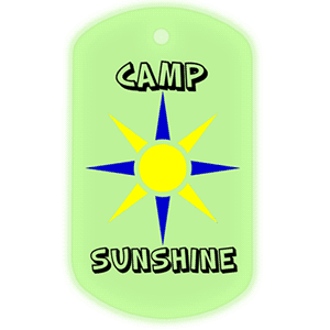 Custom glow in the dark dog tag with a three color logo made for Camp Sunshine.