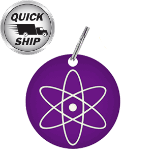 Custom laser engraved circle tag with the famous atom insignia laser engreaved on a purple anodized aluminum tag.