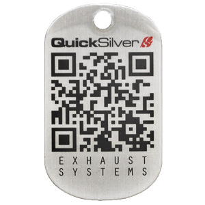 A custom QR code dog tag that was made for Quick Silver Exhaust Systems. We can place a QR code on any dog tag and have even engraved them onto tags before. Great for businesses who want to get their information to customers in a unique way.