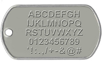 This image shows the characters available to emboss on our custom military dog tags. Those characters are the letters A to Z, numbers 0 to 9 and special characters ' ! : . , / + - & @ #