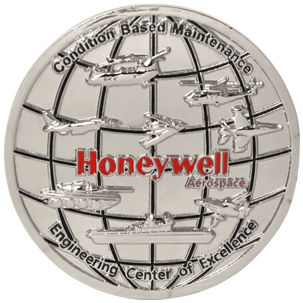 A custom corporate challenge coin we did for industrial giant Honeywell Aerospace.