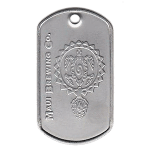 An embossed logo dog tag with the Maui Brewing Co. Logo embossed into a standard dog tag.