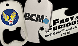 A collage of photo etched dog tag bottle openers we have produced for customers. These are for BCM, The Airforce, and a custom dog tag bottle opener we did for Fast and the Furios blue ray release.
