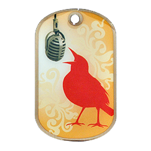 A custom offset printed dog tag with a bird singing into a microphone and a yellow artsy background.