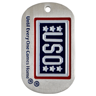 A custom photo etched dog tag with the USO logo and the tag line