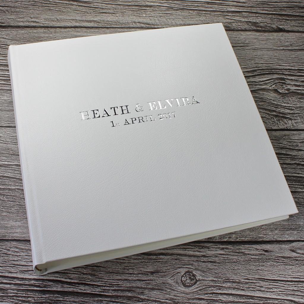 Traditional Classic White Leather Photo Album