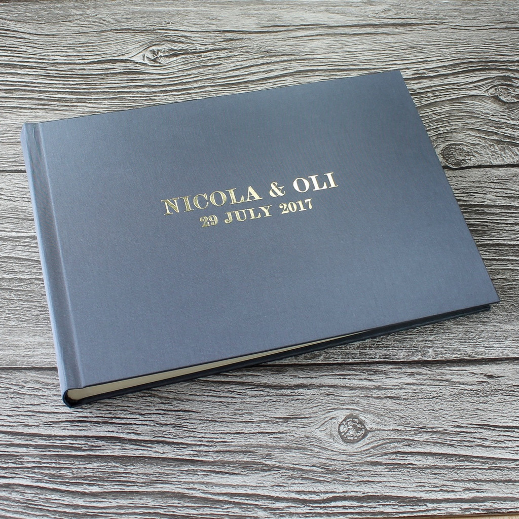Silver Grey Satin Photo Booth Guest Book