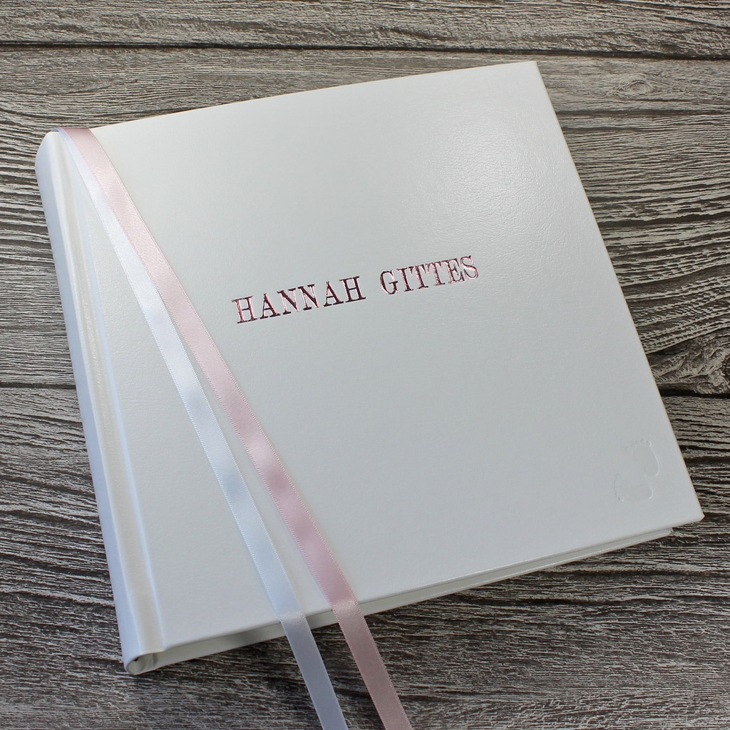 White Leather Baby Girl Photo Album - Pink & White