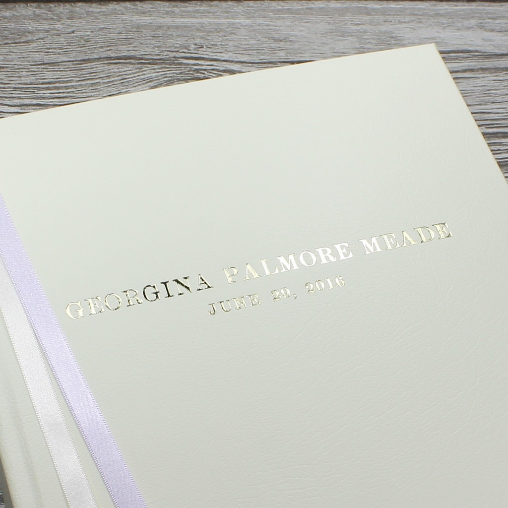 Ivory Leather Baby Girl Photo Album - Lilac & Ivory