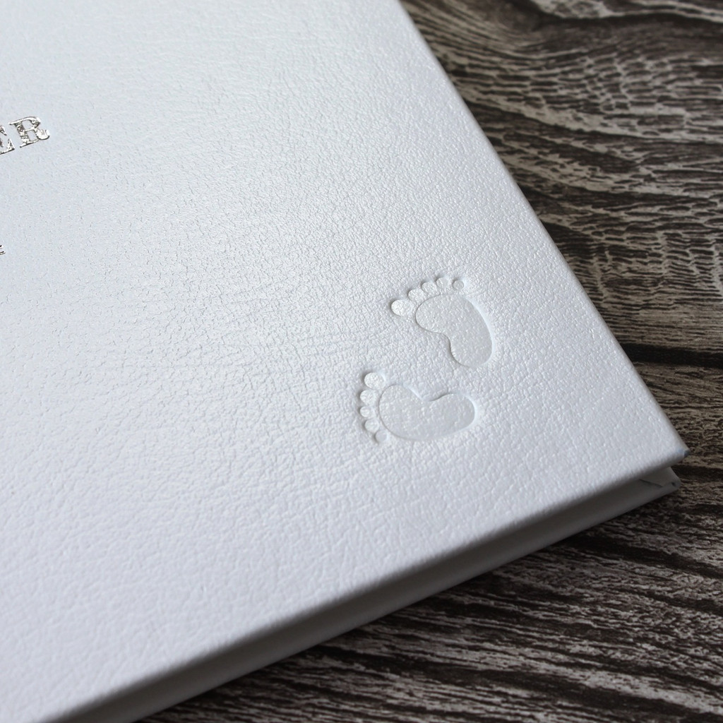 Personalised White Leather Christening Guest Book - Baby Naming Book