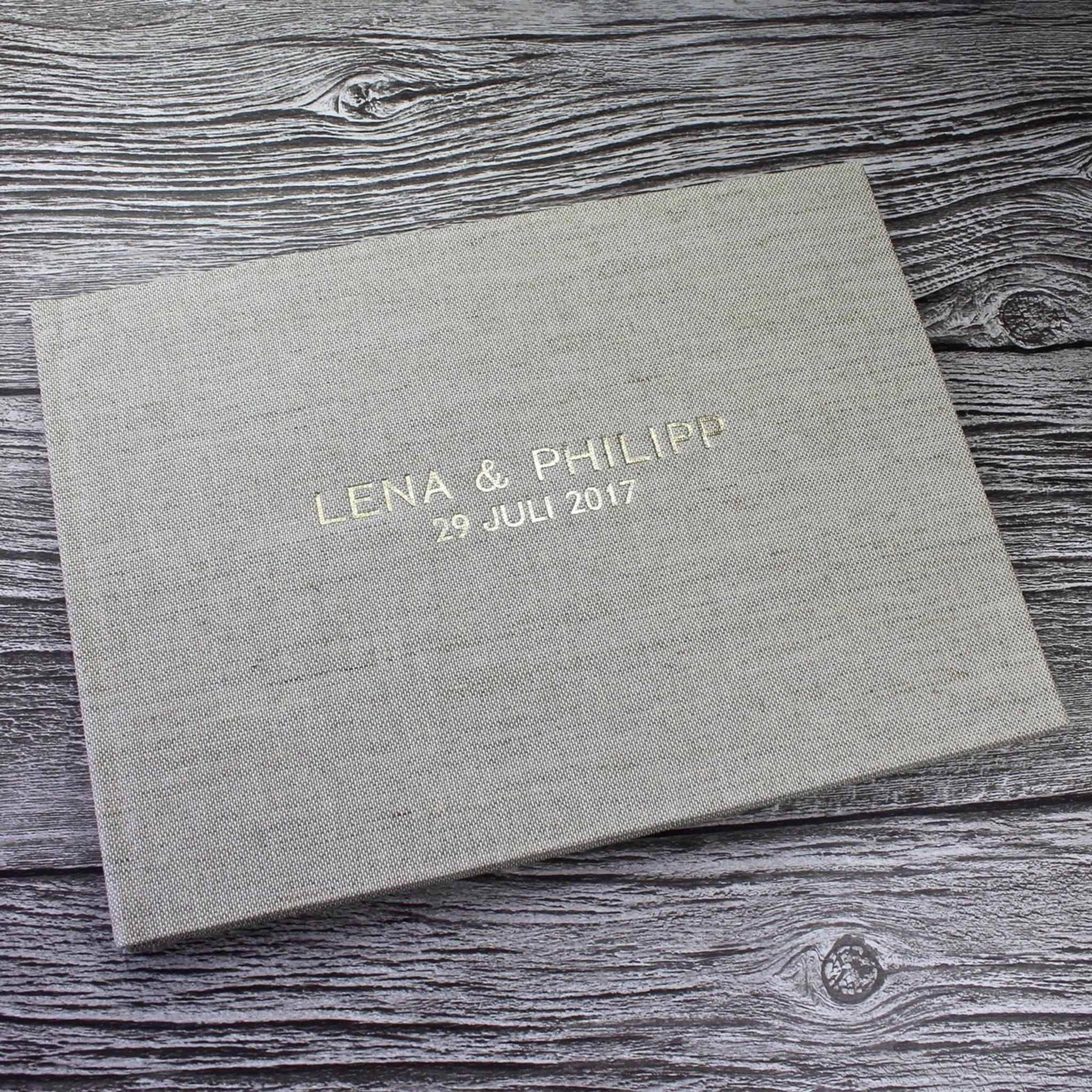 Natural Oatmeal Linen Wedding Guest Book