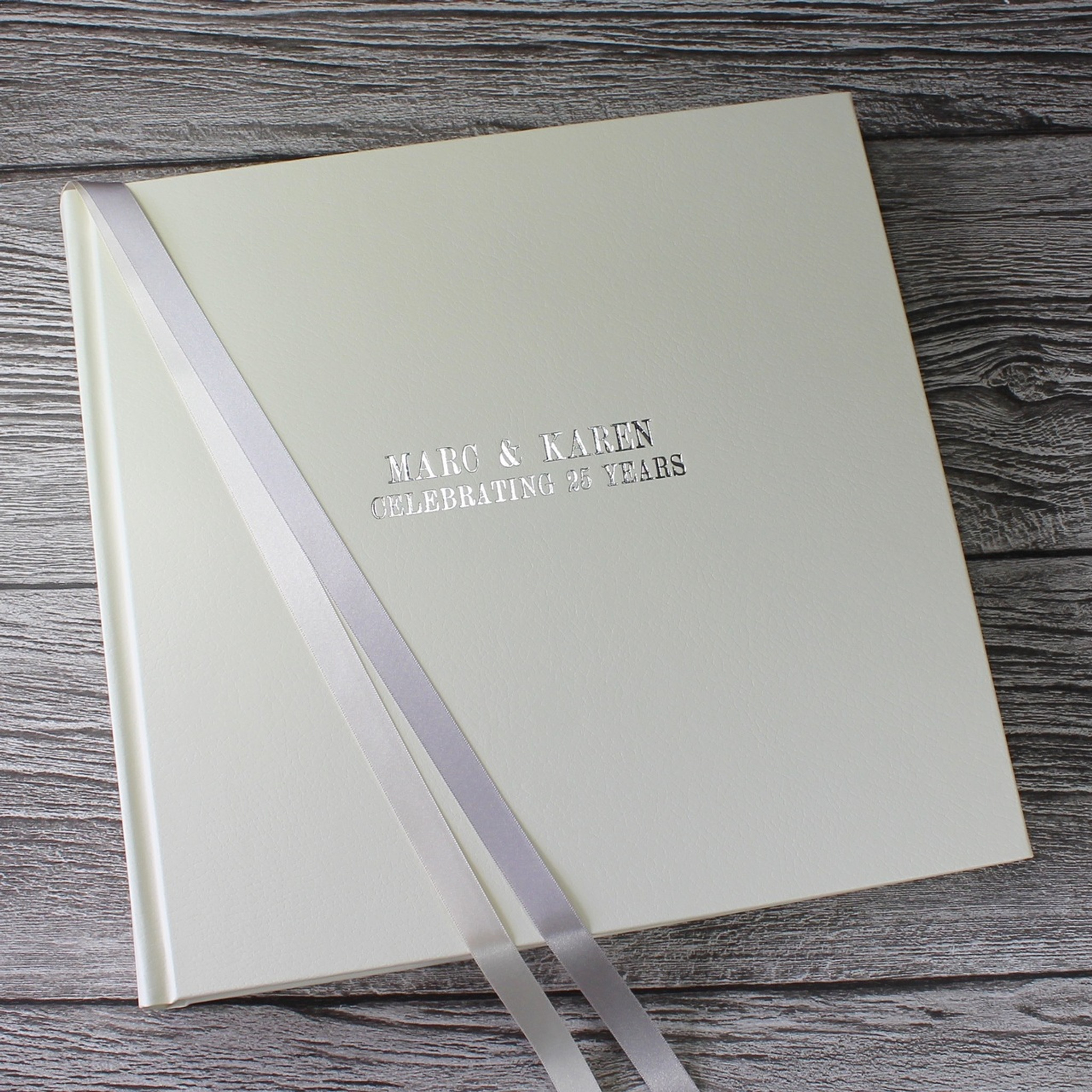 silver - 25th wedding anniversary photo album