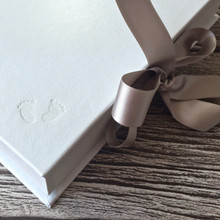 White Leather Baby Keepsake Memory Box - Silver Ribbon Tie
