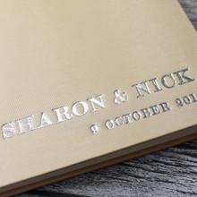 Pale Gold Satin Wedding Guest Book