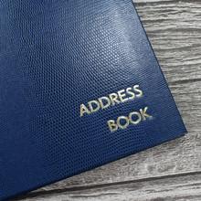 Personalised Address Book  - Royal Blue Lizard Effect Finish