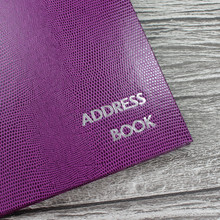 Personalised Address Book  - Plum Lizard Effect Finish