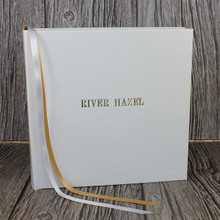 White Leather Baby Memory Record Book - Gold & White