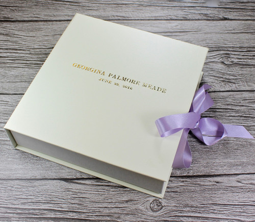 Ivory Leather Baby Girl Keepsake Memory Box - Lilac Ribbon Tie