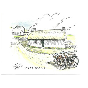 Hancox Art greetings card depicting  cottage at Cregneash on the front