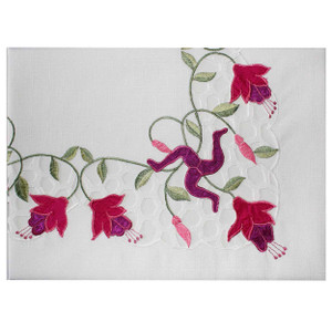 Isle of Man Fuchsia Tablecloth with Manx 3 Legs