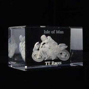 Isle of Man TT racing bike glass crystal block