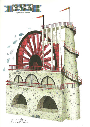 Front of Kasia Mirska's Laxey Wheel greetings card