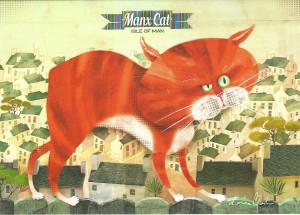 Manx Cat greetings card by local artist Kasia Mirska