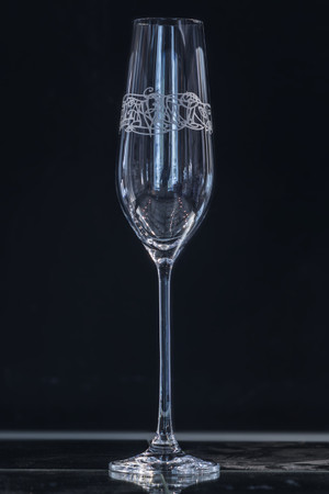A single Champagne Flute with Julia Ashby Smyth's Ellan Vannin design
