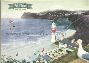Kasia Mirska greetings card featuring Port Erin and the Cosy Nook cafe