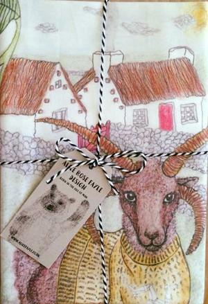 Loaghtan Ram T Towel designed by Alice Rose Fayle - folded