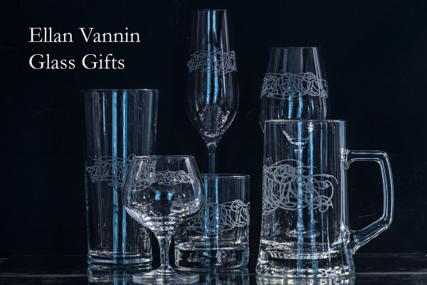 Some of the other engraved glassware items available with Julia Ashby Smyth's Ellan Vannin design