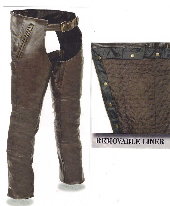 Men's Retro Brown Leather Chaps