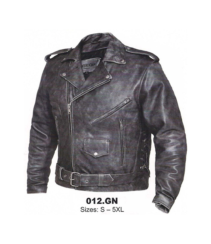 Men's Tombstone Grey Traditional Leather Motorcycle Jacket