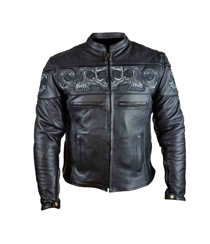 Men's Reflective Skull Leather Motorcycle Jacket