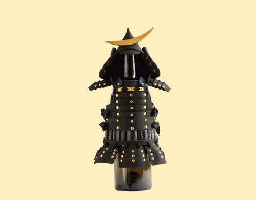 This product is a wine bottle cover in the shape of Samurai warrior