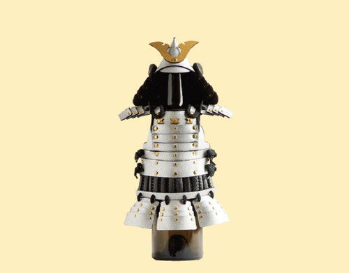 This product is a wine bottle cover in the shape of Samurai warrior.