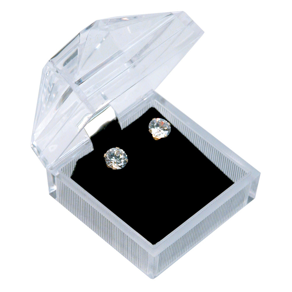 "Crystal clear earring box, 1 7/8"" x 1 7/8"" x 1 7/8""H"