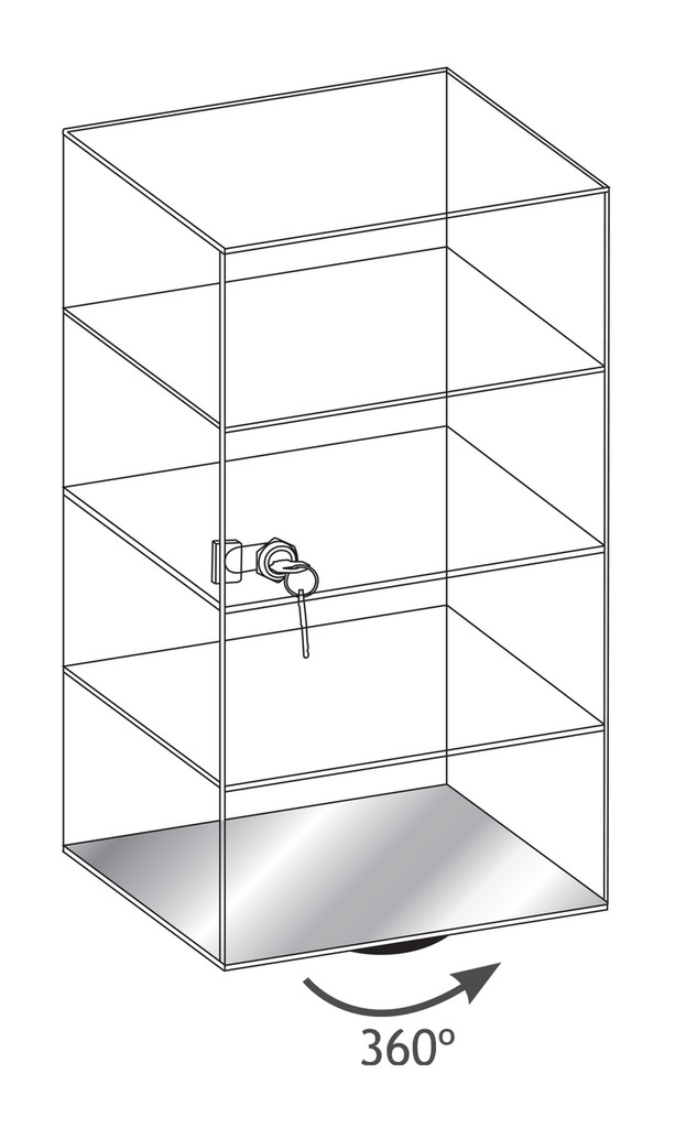 "Acrylic Display Revolving Case , 10"" x 10"" x 18 1/2""H, 3 removable shelves"