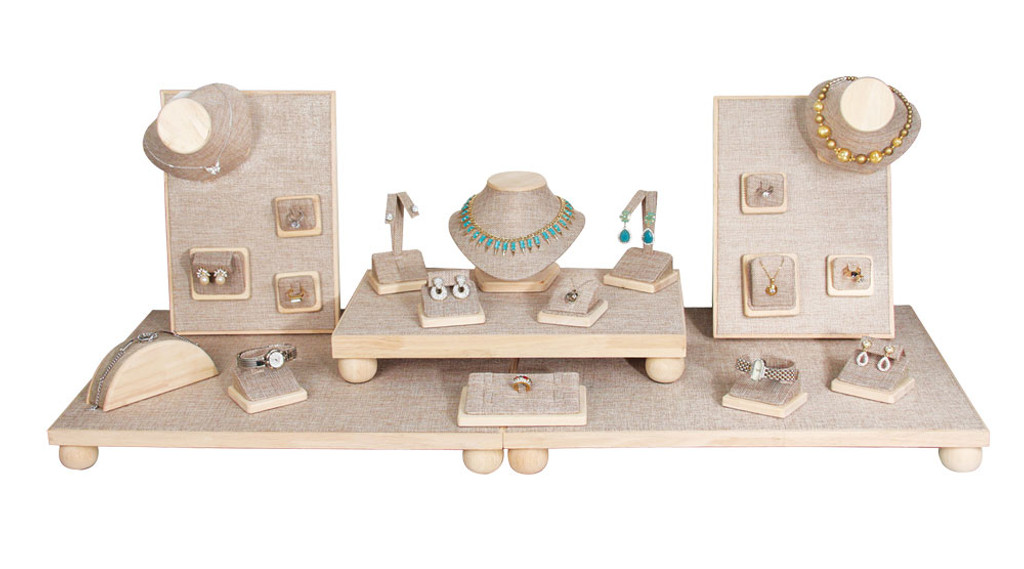 Magnetic Burlap Jewelry Display Set with 23-Pieces (SET76-N3)