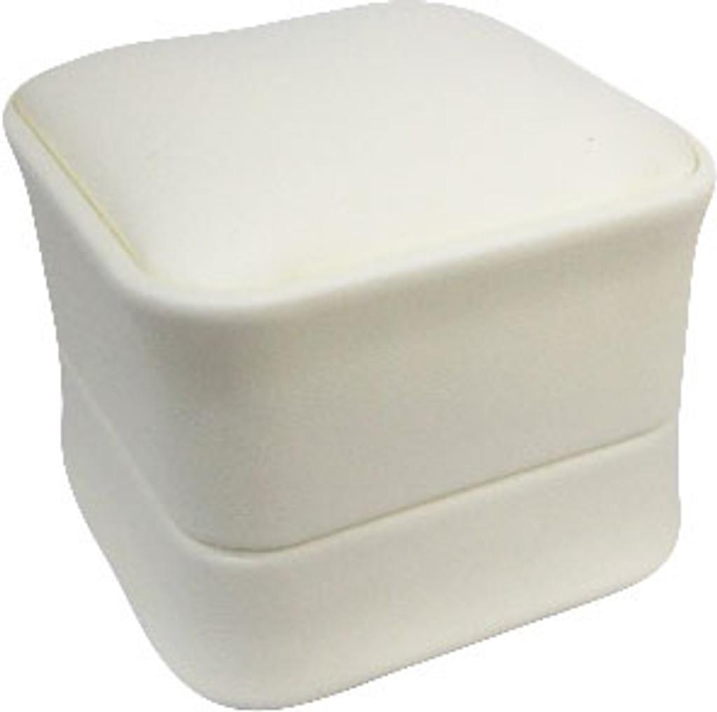 Cream Faux Leather Earring Box