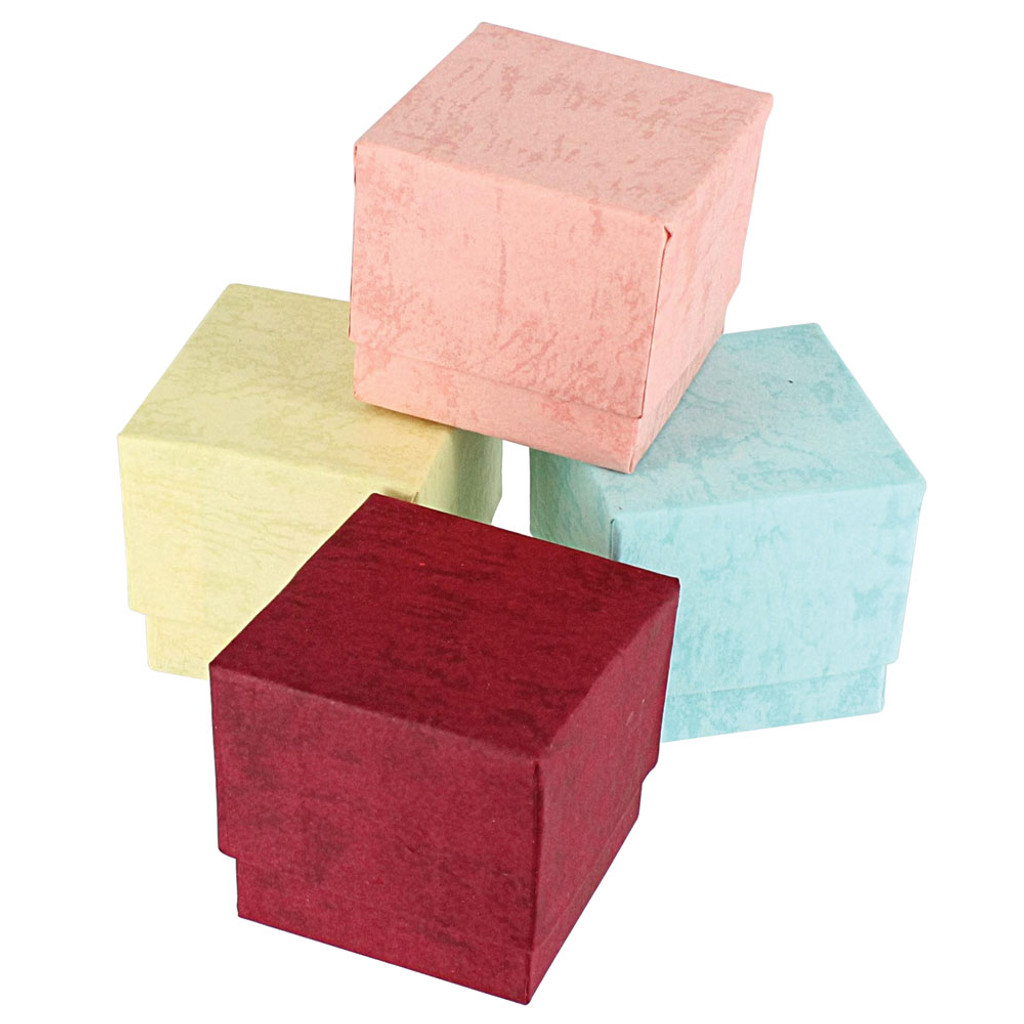 """Ring Box, 1 3/4"""" x 1 3/4"""" x 1 5/8""""H, Pastel, 5 Assorted Color, Price for 100 Pieces."""