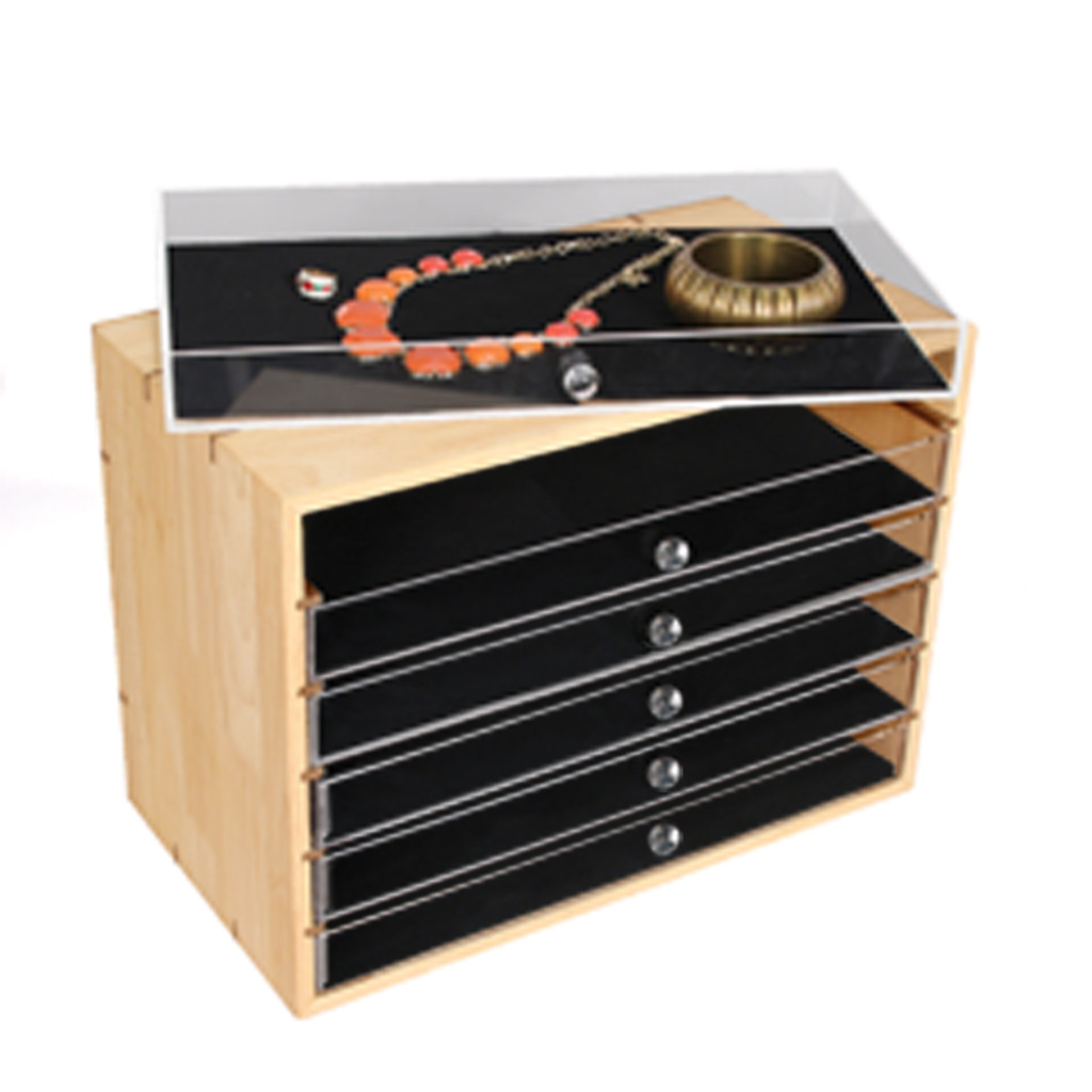 "Natural Wood Organizer Case, Acrylic Drawer, 16"" x 9"" x 11 3/4""H"