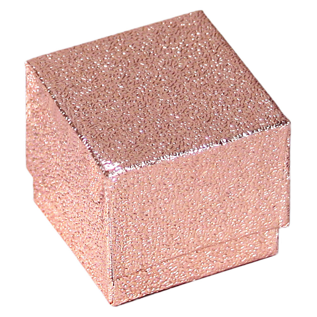 "Ring Box, 1 3/4"" x 1 3/4"" x 1 5/8""H, Rose Gold,Foil ,Price for 100 Pieces."