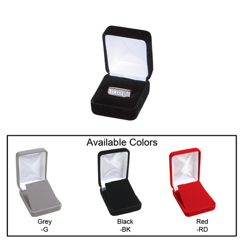 """Velvet metal ring box , 1 7/8"""" x 2 1/8"""" x 1 1/2""""H , Choose from various Color"""