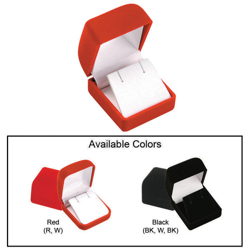 "Soft Flocked Velour Earring Box, 1 3/4"" x 17/8"" x 1 1/2"", Choose from various Color"